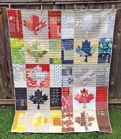 Oh Canada quilt, made by me, pattern by Cheryl Arkison Cute Quilts, Scrappy Quilts, Quilt Block Patterns, Quilt Blocks, Paper Piecing, Canadian Quilts, Quilts Canada, Quilting Designs, Quilting Ideas