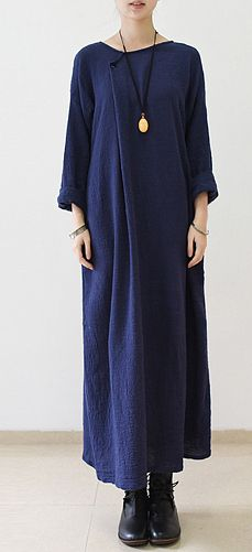 Navy oversize long sleeve linen dress plus size linen maxi dresses caftans