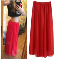 05e814499f0f Long Skirt Elegant Style Women Pastel Volume Candy Coloured Pleated chiffon  Maxi Beach Skirts floor length long skirt-in Skirts from Women's Clothing  ...