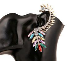 Kolczyk Nausznica Kryształowa Kolorowa Brooch, Earrings, Jewelry, Fashion, Ear Rings, Moda, Stud Earrings, Jewlery, Jewerly