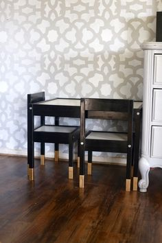 Super simple and beautiful Ikea LATT children's table hack - painted black with gold-dipped legs.