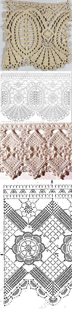 Crochet Edgings Lace borders or edging Crochet Boarders, Crochet Lace Edging, Crochet Diagram, Crochet Stitches Patterns, Crochet Chart, Thread Crochet, Crochet Trim, Love Crochet, Beautiful Crochet
