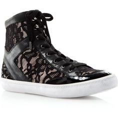 Rebecca Minkoff Sneakers - Smith Lace High Top ($135) ❤ liked on Polyvore featuring shoes, sneakers, hi tops, lace high top sneakers, lacy shoes, high top trainers and lace high tops