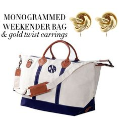Enter to win a monogrammed weekender and gold twist earrings via @peapodpapergift and @collegeprepster !!!!