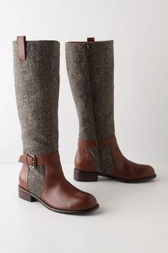 Herringbone Boots - Love these, had something similar but it was all tweed with the strap and leather trim. Bootie Boots, Shoe Boots, Shoe Bag, Women's Boots, High Boots, Black Boots, Boot Over The Knee, Cute Shoes, Me Too Shoes