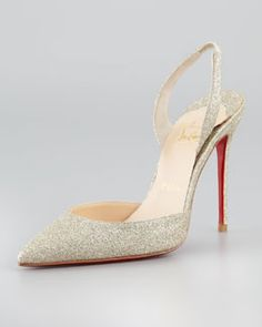 X1G3J Christian Louboutin Ever Glitter Slingback Red Sole Pump, Platine