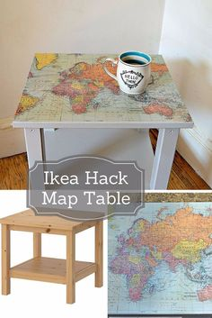Best IKEA Hacks and DIY Hack Ideas for Furniture Projects and Home Decor from IKEA - IKEA Hack Map Table - Creative IKEA Hack Tutorials for DIY Platform Bed, Desk, Vanity, Dresser, Coffee Table, Storage and Kitchen, Bedroom and Bathroom Decor http://diyjoy.com/best-ikea-hacks