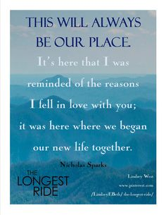 """Quote poster from """"The Longest Ride"""" book"""