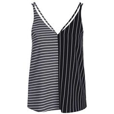 TopShop Mix Stripe Double Strap Cami ($27) ❤ liked on Polyvore featuring intimates, camis, strappy cami, polyester camisole and striped cami