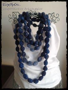 handmade pom pom scarf necklace