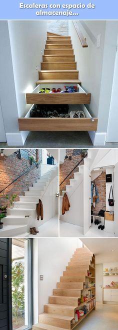 Escaleras con espacio de almacenaje. Ideas de almacenaje. Espacio de guardado.