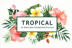 Tropical Leaves Watercolor Clipart watercolor flower