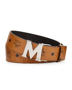 M-Buckle Monogram Belt, Cognac by MCM at Neiman Marcus.
