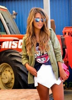 White skort, sporty tee, army green jacket & reflector Oakleys and love the hair Mode Chic, Mode Style, Fashion Mode, Look Fashion, Classy Fashion, Prep Fashion, Fashion 2014, Street Fashion, Vintage Fashion