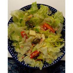 Quick salad. Green salad + cherry tomatoes + pickles + cheese + salt + lemon.