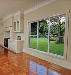 Bring the cool breezes in whilst allowing hot air to escape through the double opening of a stylish double-hung window from Wideline. Double Hung Windows, Floors, Minimalism, House Ideas, Exterior, Living Room, Building, Home, Design