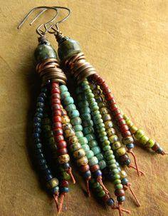 Tribal Jewelry Beaded Earrings Fringe Tassel by ChrysalisToo
