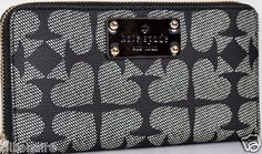 $100.00 Kate Spade Black Neda Pebbled Ace of Spades Zip Around Wallet + FREE GIFT