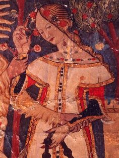 Woman with hennaed fingertips, from the Sala de los Reyes of the Alhambra, Granada, 14th century.