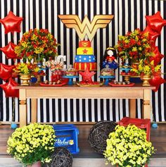 56 Trendy Birthday Party Decorations For Adults Women Star Wars Birthday Party Decorations For Adults, Birthday Party Tables, Superhero Birthday Party, Birthday Bash, Wonder Woman Birthday Cake, Wonder Woman Party, Birthday Gifts For Boys, Sleepover Party, Star Wars Party