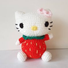Finished Hello kitty for a gift. I secretly want to keep her for myself 😋 #hellokitty #hellokittycrochet #sanrio #crochet #amigurumi #yarn #kawaii #cute #japan #strawberry #kitty #cat #plushie