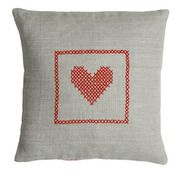 Image of Hand cross stitch on natural linen  – Red Heart Design