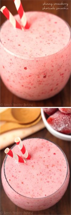 Skinny Strawberry Shortcake Smoothie -- only 3 ingredients in this healthy recipe & it tastes like dessert!