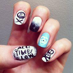 all time low nails, nail art, punk , band nails, future hearts