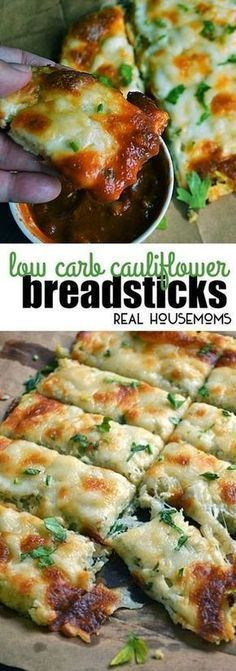 Low Carb Cauliflower Breadsticks with fresh herbs, garlic & lots of ooey gooey cheese looks and tastes like cheesy bread! #Realhousemoms #Cauliflowerbreadsticks #Appetizers