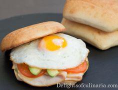 Breakfast egg sandwich with pesto