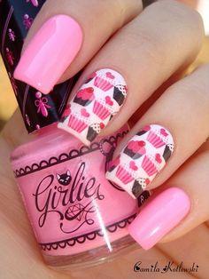 Unhas lindas unhas rosa irmãs gêmeas, outubro rosa