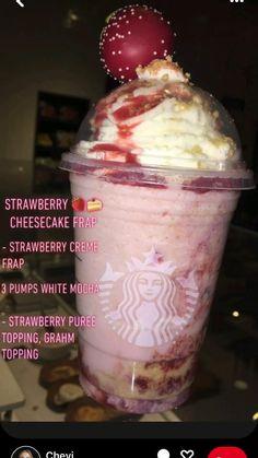Frappuccino Recipe, Starbucks Frappuccino, Starbucks Coffee, Cold Starbucks Drinks, Strawberry Starbucks Drink, Starbucks Secret Menu Drinks, Coffee Drink Recipes, Fun Baking Recipes, Yummy Drinks