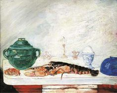 Crustacés (Nature morte à l'oeuf, au homard et au crabe) signed 'Ensor' (lower right) oil on panel 12 5/8 x 15 3/4 in. (32 x 40 cm.) Painted in 1891-1894
