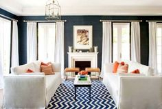 so much navy and white. great chevron rug!