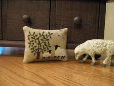 Primitive Cross Stitch Sheep Pin Keep Tuck by Justplainfolk
