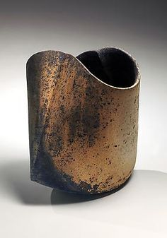 MIHARA Ken Sekki Kodo #16 - Undulating vessel with surface colorations, 2012 Unglazed multi-fired stoneware 14 3/8 x 11 1/4 x 9 7/8 in.