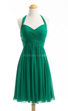 Glamorous Green A Line Halter Chiffon Bridesmaid Dress (BSD178) - MyBridesmaids.co.nz