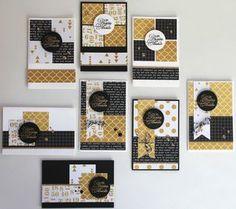Lot de 15 cartes toutes différentes réalisées dans 3 papiers imprimés recto-verso assortis (de préférence à petits motifs), 6 feuilles unies (3 blanches et 3 noires) et un peu de papier pailleté. - tutoriel