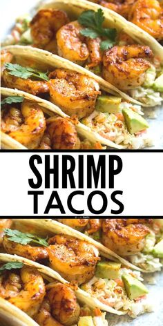 Shrimp Tacos, very easy recipe served with cabbage slaw and homemade seasoning. You can grill the shrimp or cook it in a skillet. healthy recipe, gluten free, clean eating, pescatarian, dairy free, nut free. www.noshtastic.com Fish Recipes, Seafood Recipes, Appetizer Recipes, Mexican Food Recipes, Seafood Dishes, Appetizers, Healthy Gluten Free Recipes, Paleo, Keto