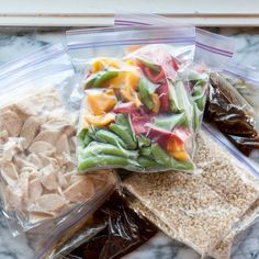 How To Make Stir-Fry Freezer Meals (Prep and freeze all the components ahead of time and store in freezer for up to 3 months - on the night you cook it only takes 10 - 15 minutes to prepare from frozen.  NOTE:  this recipe is only enough to serve 2 so I'd need to triple it!)