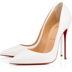 So Kate 120 Latte Leather - Women Shoes - Christian Louboutin ($675) ❤ liked on Polyvore featuring shoes, pumps, man bag, handbag purse, white hand bags, white bag and christian louboutin bags