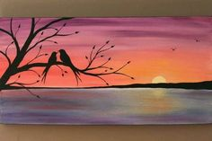 Skies Original Abstract Acrylic Painting on Canvas Beneath the Twilight Two Love Birds Tree Branch Lake Sunset Coral Purple Blue Water Summer Eve Bird Paintings On Canvas, Easy Paintings, Acrylic Painting Canvas, Canvas Art, Sunset Paintings, Love Birds Painting, Tree Paintings, Bird Artwork, Beginner Painting