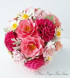 Items similar to Paper Bouquet - Paper Flower Bouquet - Wedding Bouquet - Shades of Pink and Green - Custom Made - Any Color on Etsy Paper Flowers Wedding, Flower Bouquet Wedding, Felt Flowers, Diy Flowers, Fabric Flowers, Origami Bouquet, Paper Bouquet, Paper Art, Paper Crafts