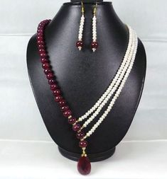 Cts Designer Natural Red Ruby & Pearl Beaded Necklace/Earring W Fish Lock Diy Jewelry Necklace, Bead Jewellery, Jewelry Sets, Jewelry Crafts, Beaded Jewelry, Jewelery, Handmade Jewelry, Beaded Necklace, Jewelry Making