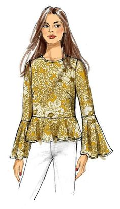 Easy Sewing Patterns, Coat Patterns, Sewing Ideas, Sewing Projects, Dyi, Top Pattern, Free Pattern, Beautiful Blouses, Sleeve Styles