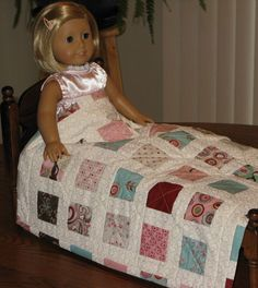 Doll Quilt Blanket Bedspread for American Girl Dolls. $28.00, via Etsy.