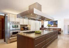 Kitchen , Easy Cooking With Modern Kitchen Appliances : Modern Kitchen Appliances Range Cooktop And Large Stainless Steel Range Hood With Lighting And Built In Microwave