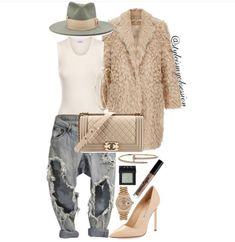 Outfits With Hats, Jean Outfits, Chic Outfits, Fashion Outfits, Fur Fashion, Style Fashion, Street Chic, Playing Dress Up, Jeans Style