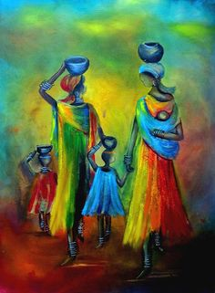 """""""Two Little Girls Carrying Water"""".  Print by Marietjie Henning."""