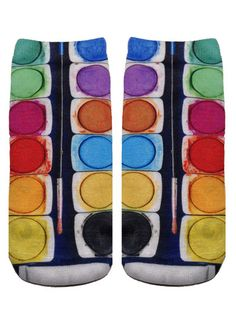 *Unisex polyester *Made in the USA *One Size fits most * L x W Printed on one side only. Silly Socks, Crazy Socks, Cool Socks, Awesome Socks, Socks World, Buy Socks, Stretch Bands, All About Shoes, Colorful Socks
